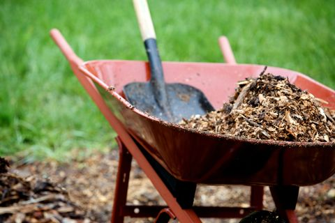 wheelbarrow and shovel working with landscape mulch