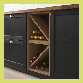 VADHOLMA Wine shelf, brown, stained ash, 15x14 3 / 8x15