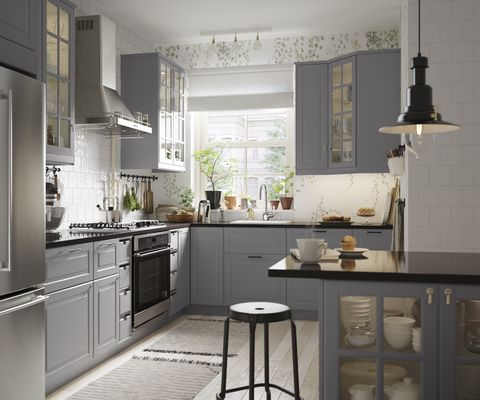 gray upper cabinets