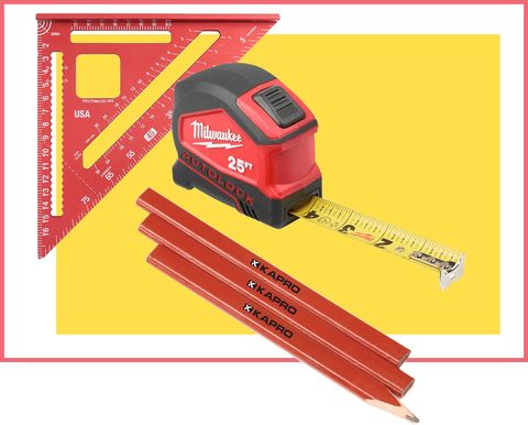 a tape measure, a speed square, a pencil