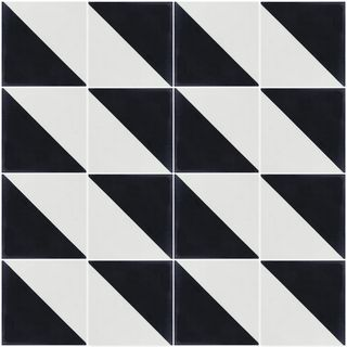 Man Overboard 8 '' x 8 '' Handmade Cement Black and White Floor and Wall Tile (16 / 6.96 sq. Ft. Box)