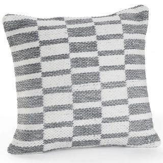 Alternating Blocks Gray and White Geometric Hypoallergenic Polyester 18 '' x 18 '' Cushion