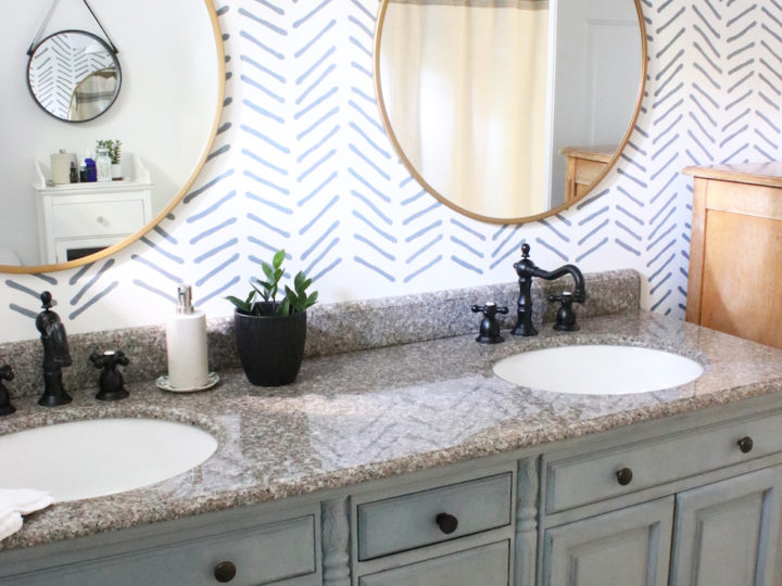 Our Bathroom Makeover: Painted Vanity and Wall Stencil Details