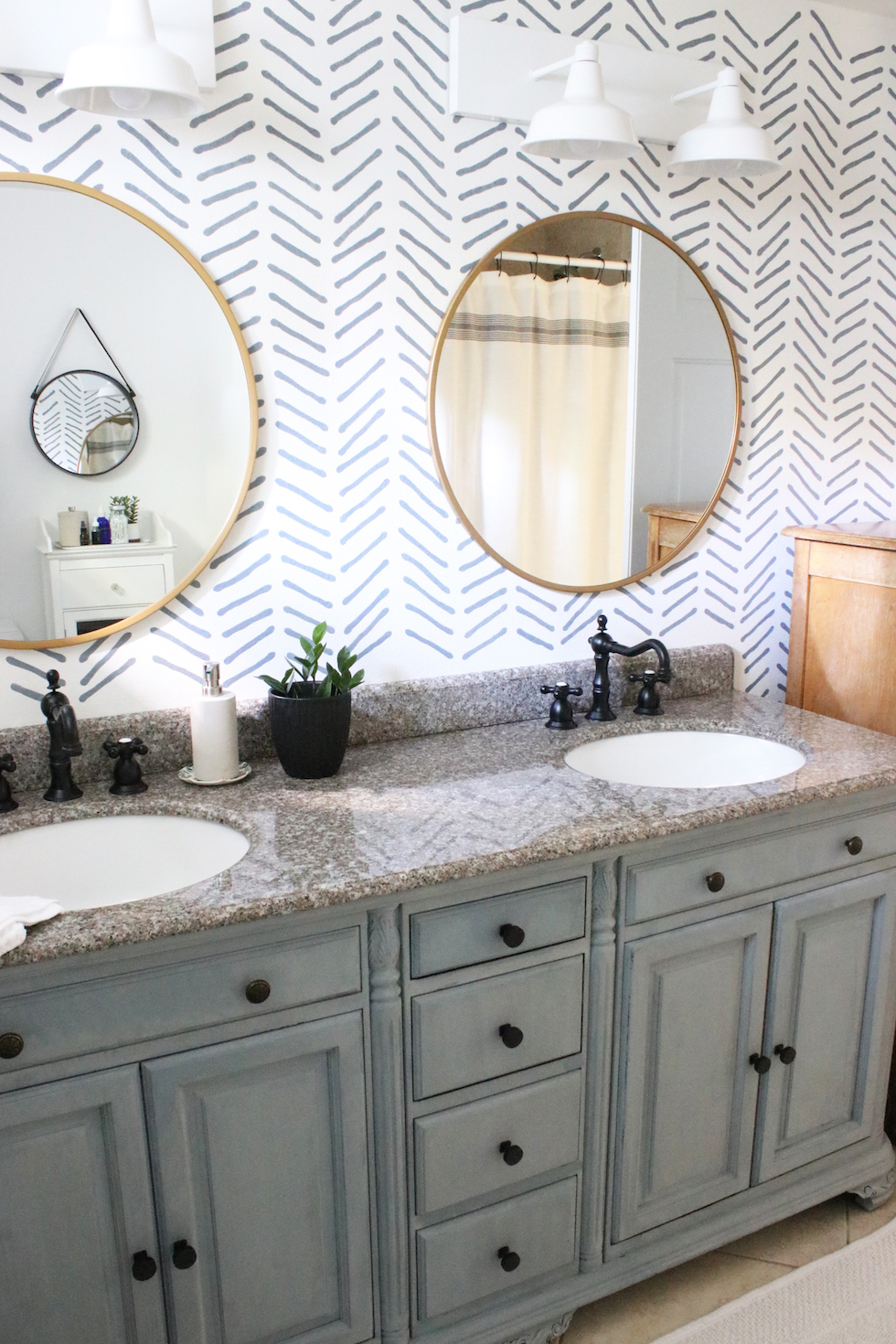Our bathroom renovation: painted vanity and wall stencil details
