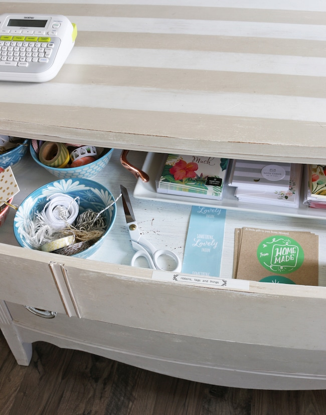 DIY gift wrapping station and storage ideas