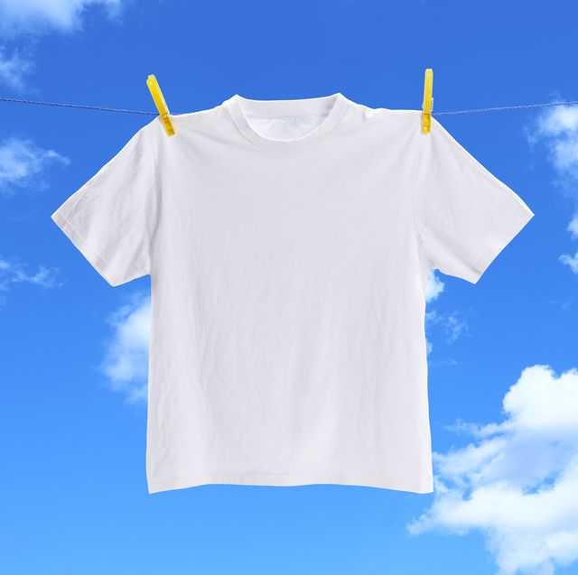 white t-shirt on clothesline