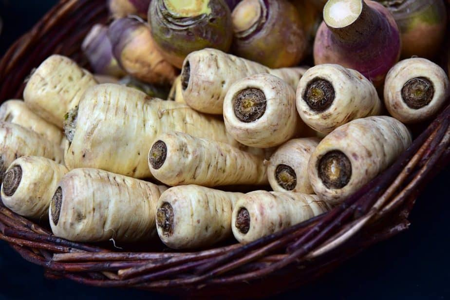 2 Parsnips and Carrots in Basket