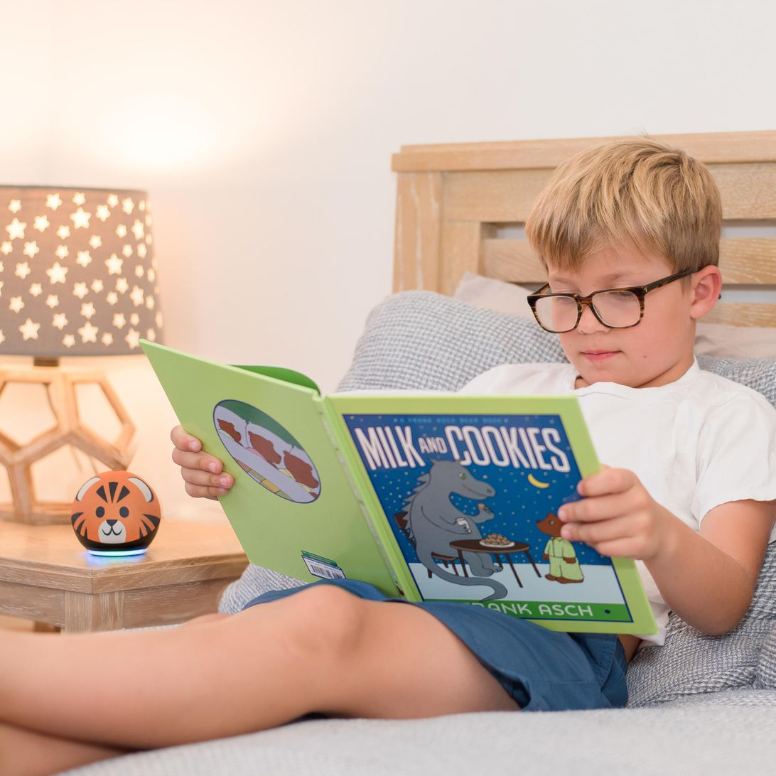 reading-sidekick-close-up-with-milk-and-cookies-and-tiger-echo-dot-kids