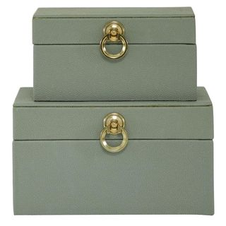 Gray faux wood boxes with gold details