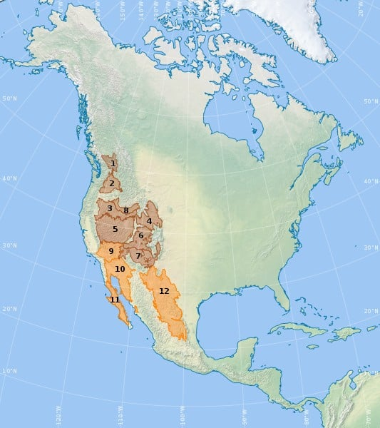 3. Map shows all the deserts in the uS